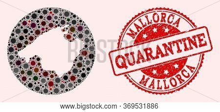 Vector Mallorca Map Collage Of Flu Virus And Red Grunge Quarantine Seal. Infection Cells Attack The