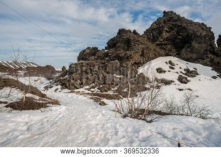 Scenery View Of Snow Covered Dimmuborgir Lava Field In Mývatn Of Northeast Iceland In The Winter Sea