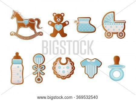 Baby Shower Gingerbreads. Blue Cookies For Baby Boy. Rocking Horse, Bear, Baby Shoe, Baby Carriage,