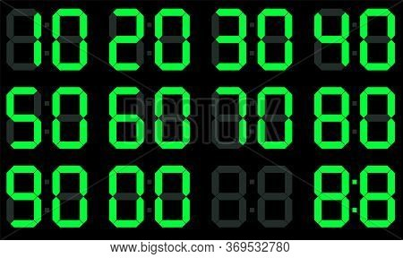 Digital Led Numbers. Electronic Or Digital Clock Counter With Led Figures. Flat Style. Isolated On B