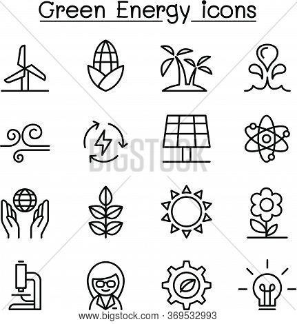 Green Energy Icon Set In Thin Line Style Vector Illustration Graphic Design