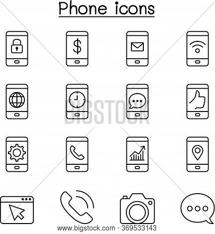 Smart Phone & Basic Application Icon Set In Thin Line Style Vector Illustration Graphic Design