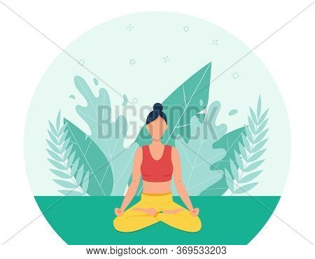 The Girl Practices Yoga In The Open Air.the Concept Of Outdoor Yoga.yoga Classes In Nature. Flat Sty