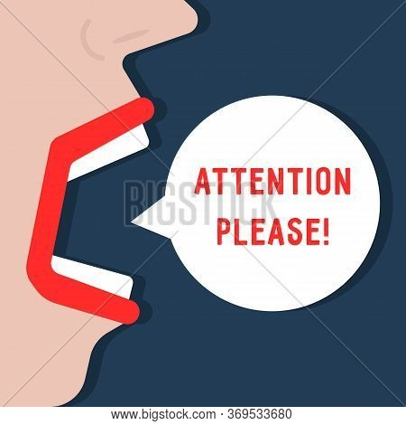 Woman Says Attention Please. Concept Of Web Urgent Message Or Caution Info Like Very Important Popup
