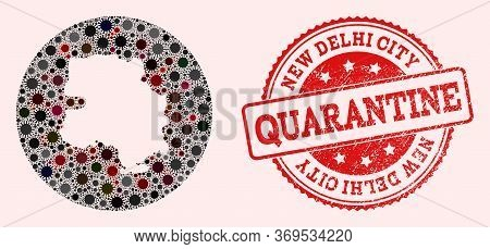 Vector Map Of New Delhi City Collage Of Flu Virus And Red Grunge Quarantine Stamp. Infection Cells A