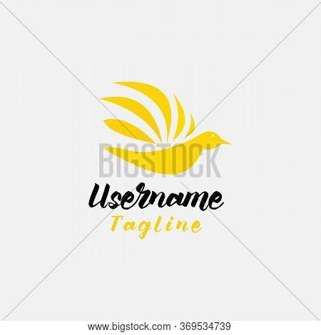 Golden Phoenix Bird Brand Animal Logo Luxury Minimalist