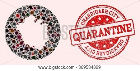 Vector Map Of Chandigarh City Collage Of Covid-2019 Virus And Red Grunge Quarantine Seal Stamp. Infe