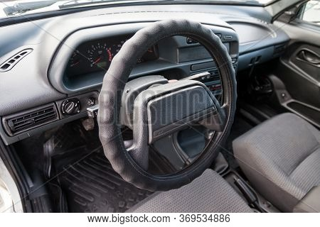 Novosibirsk, Russia - 05.20.2020: Control Panel And The Center Console Of Russian Car With Steering