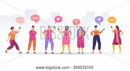 Social Network, Stay Connected, People Connecting All Over The World, Young People Characters Chatti