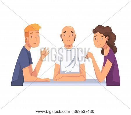 Group Of Friends Sitting, Communicating And Looking At Us Set, Meeting Of Friends Cartoon Vector Ill