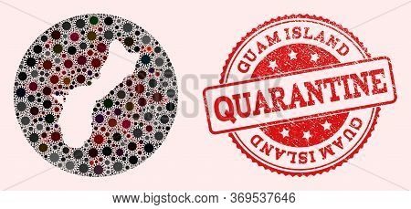 Vector Map Of Guam Island Collage Of Flu Virus And Red Grunge Quarantine Seal. Infection Cells Aroun