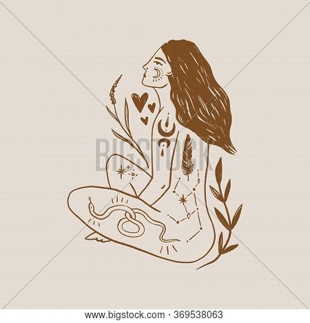 Tattooed Girl Long Hair Yoga Meditation. Wild Moonchild. Modern Witch Concept. Witchcraft Culture. H