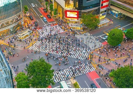 Shibuya Crossing From Top View In Tokyo