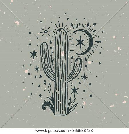 Wild Cactus. Desert Arizona Moonchild. Vintage Concept. Mexico Culture. Harmony And Zen. Crescent Mo
