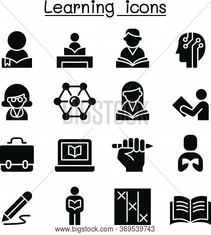 Study, Learning, Education Icon Set Vector Illustration Graphic Design