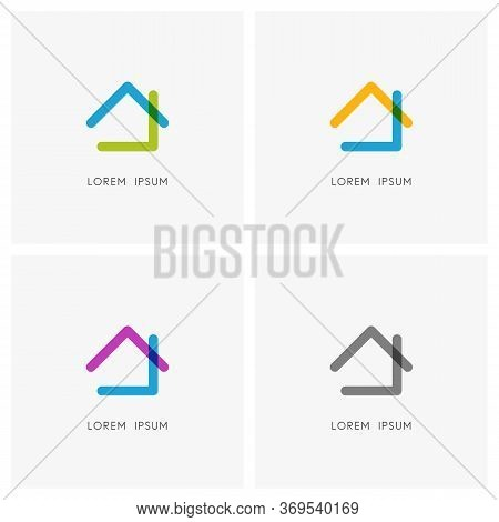 Home Colored Logo Set. Simple Outline Bright House With Roof And Chimney Symbol - Realty, Real Estat