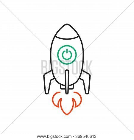 Rocketship Launch Thin Line Logo. Concept Of Travel To Universe By Missile And Innovation. Stroke Fl