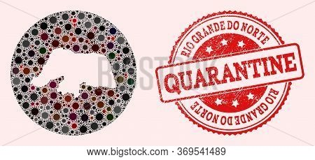 Vector Map Of Rio Grande Do Norte State Collage Of Coronavirus And Red Grunge Quarantine Stamp. Infe