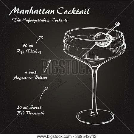 Manhattan Cocktail Recipe Vector Hahddrawn Illustration Sketch