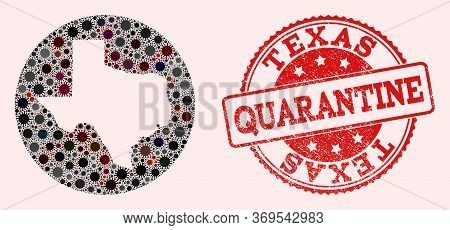 Vector Map Of Texas State Collage Of Sars Virus And Red Grunge Quarantine Seal Stamp. Infection Cell