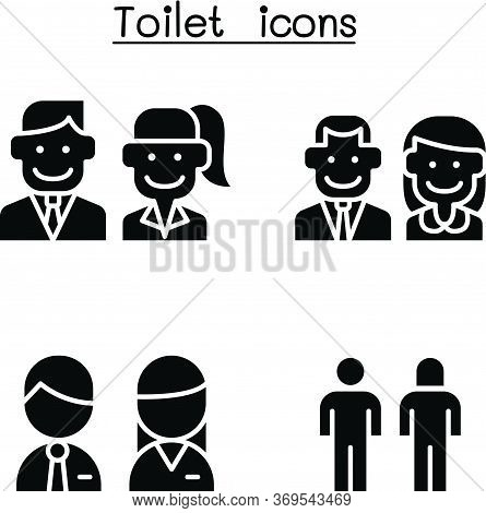 Toilet, Restroom, Wc Icon Set Flat Style