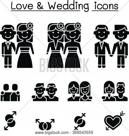 Wedding & Loving Icon Set Vector Illustration Graphic Design