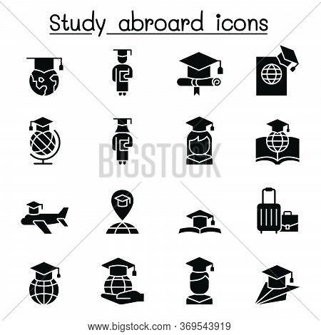 Study Abroad & Graduation Icon Set Vector Illustration Graphic Design