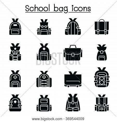 School Bag Icon Set Vector Illustration Graphic Design