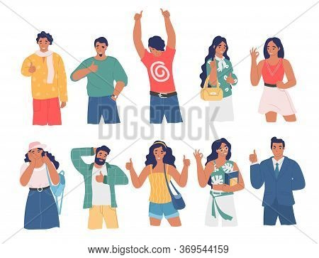 People Gesturing To Show Consent, Vector Flat Isolated Illustration