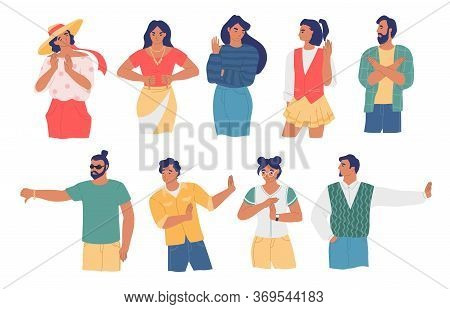 People Gesturing To Show Disagreement, Vector Flat Isolated Illustration