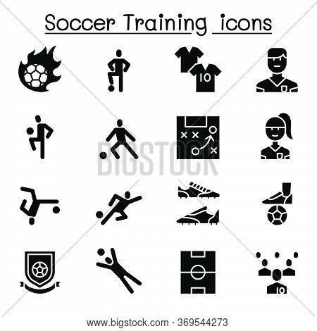 Soccer Training, Football Club Icon Set Vector Illustration Graphic Design