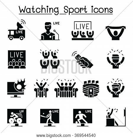 Watching Sport On Tv, Sport Broadcasting Icon Set