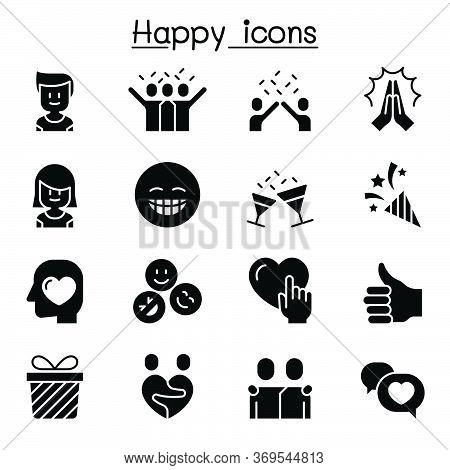 Happy Icon Set Vector Illustration Graphic Design