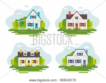 Set Of 4 Cute Houses In Flat Style, Vector Illustration, Real Estate, Housing, Renting, Investment,