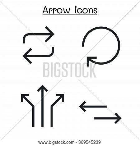 Arrow Icon Set Sharp Corner Style Vector Illustration Graphic Design