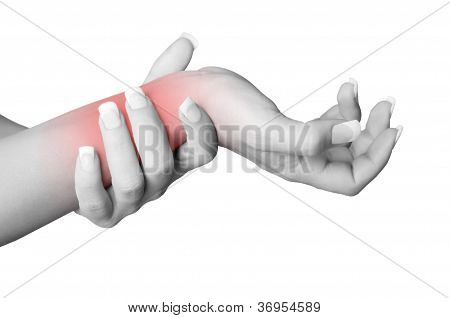 Female with pain in her wrist isolated in a white background. Red circle around the painful area. poster