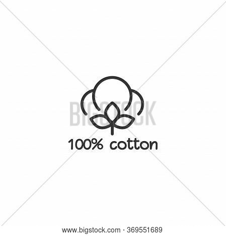Cotton Seed Icon. 100 Cotton Label. Natural Fiber Sign.