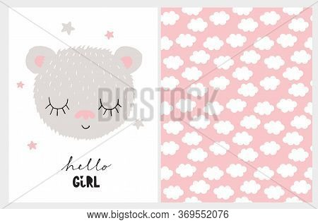 Hello Girl. Baby Shower Illustration. Cute Nursery Art With Little Dreamy Baby Bear Isolated On A Wh