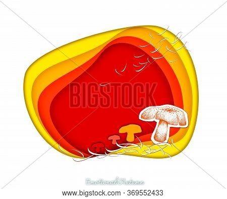 Emotional Autumn Background, Illustration Hand Drawn Of Beautiful Mushrooms In Trendy Origami Deep P