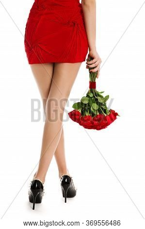Woman Legs Rear View, Red Flowers Roses, Fashion Model Crossed Legs With Flower Bouquet On White