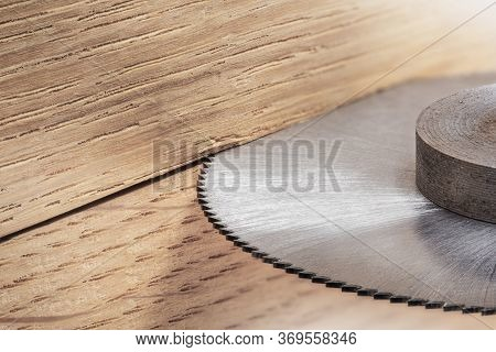 Cnc Milling Machine Cutting Wooden Oak Board. End Mill Make Hole In Timber Board.