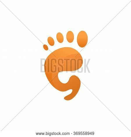 Orange, Vector Of Footprint Icon. Insulated Flat Foot Symbol On A White Background. Foot Symbol. Foo