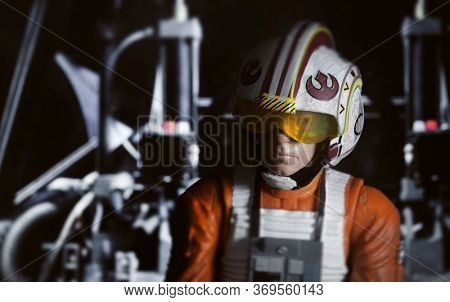 JUNE 1 2020: recreation of a scene from Star Wars with Luke Skywalker piloting his X-Wing fighter - Hasbro action figure