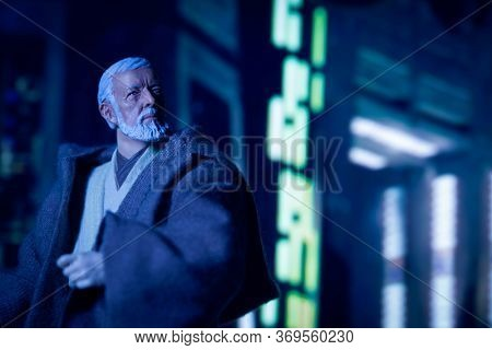JUNE 1 2020: recreation of a scene from Star Wars A New Hope with Obi-Wan Ben Kenobi disabling the tractor beam on the Death Star - customized Hasbro action figure