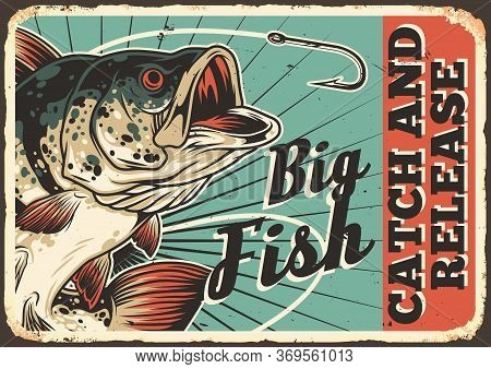 Fishing Colorful Vintage Horizontal Poster With Inscription Big Perch And Sharp Fishhook Vector Illu