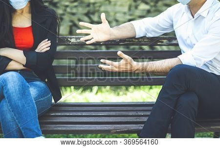 Young Male And Female Arguing Outdoors, Couple Misunderstanding, Breakup Crisis