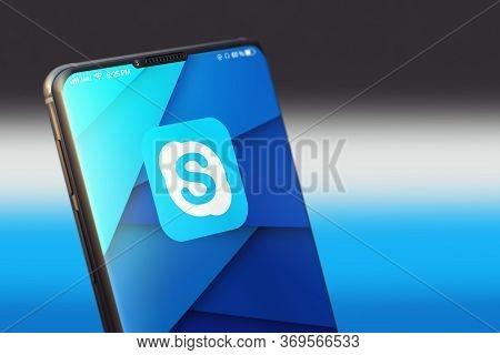 Kyiv, Ukraine-june, 2020: Skype Mobile Application On The Smart Phone Screen. Closeup Studio Shot Of