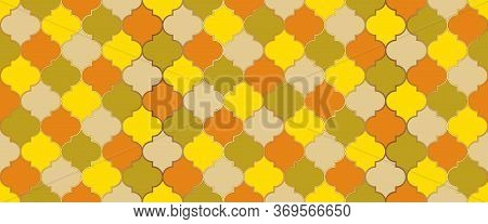 Traditional Ramadan Mosque Golden Grid. Moroccan Seamless Pattern Eid Mubarak Islamic Illustration.