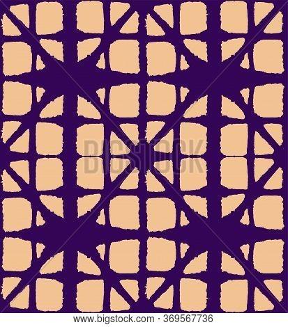 Japanese Tie Dye Seamless Pattern. Elegant Kimono Fabric. Soft Shape Shell Print Bohemian Geometric