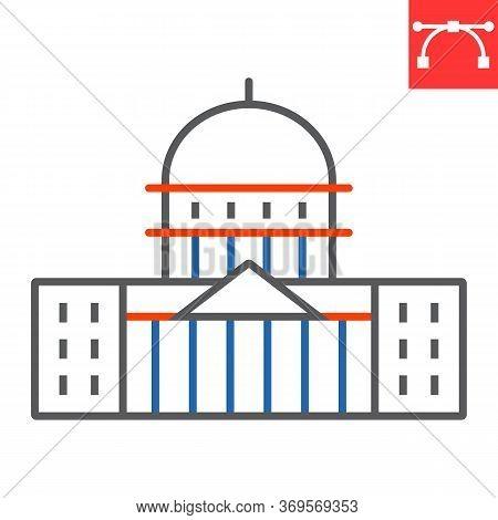 Capitol Building Color Line Icon, Usa And Congress, Washington Capitol Sign Vector Graphics, Editabl